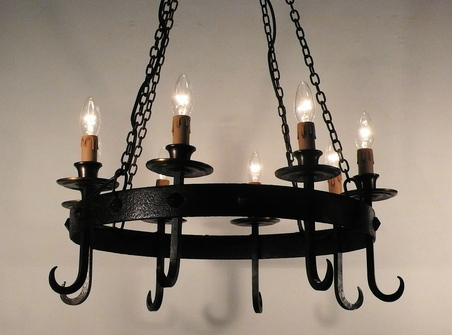 Circular Wrought Iron Hanging Pendant Light Antique