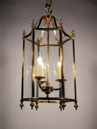 Georgian Style Curved Glass Brass Hall Lantern Lanterns Flush Ceiling