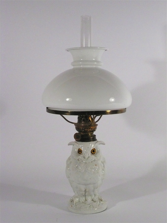 Antique Ceramic Owl Oil Lamp