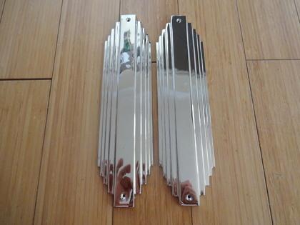 Chrome art deco style door finger plates finger plate for Door finger plates