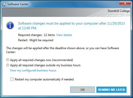 SCCM Software Center Window
