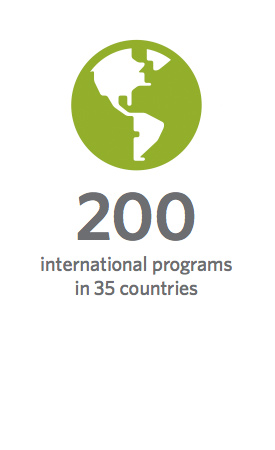 200 international programs in 35 countries