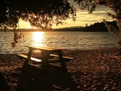 Picnic bench at sunset