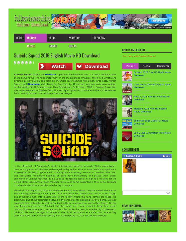 download suicide squad movie in english