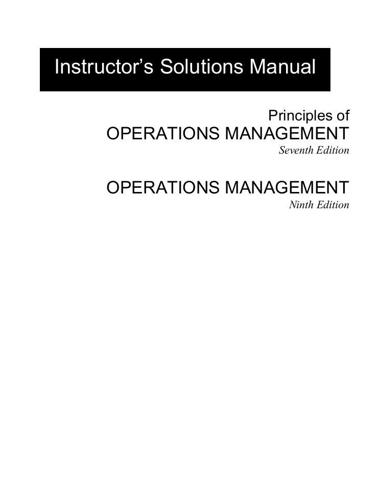 solution manual principles of operations management 7th edition rh edocr com operations management krajewski solutions manual pdf operations management stevenson solutions manual