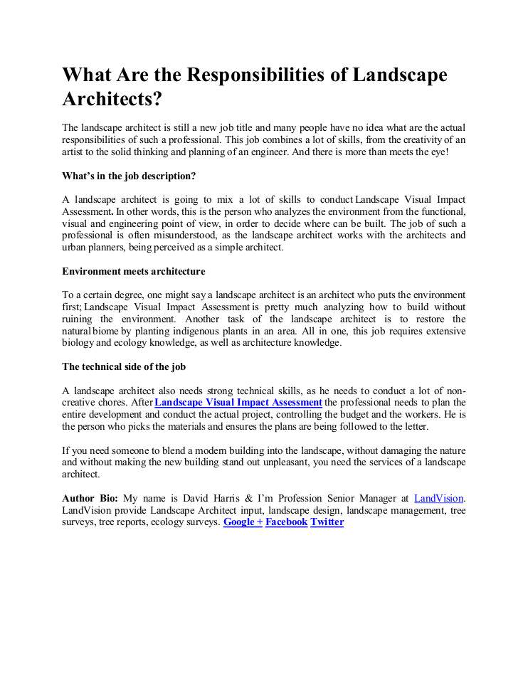 What Are the Responsibilities of Landscape Architects | edocr