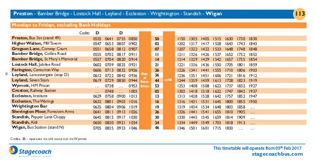 Wigan bus timetable
