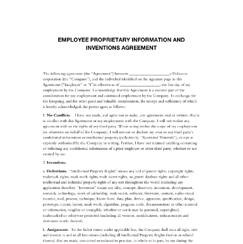 Employee Proprietary Information And Inventions Agreement Edocr