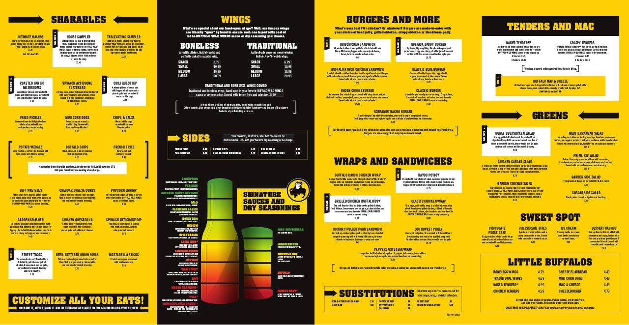 image regarding Buffalo Wild Wings Printable Menu titled Buffalo wild wings printable menu - Least difficult Financial savings