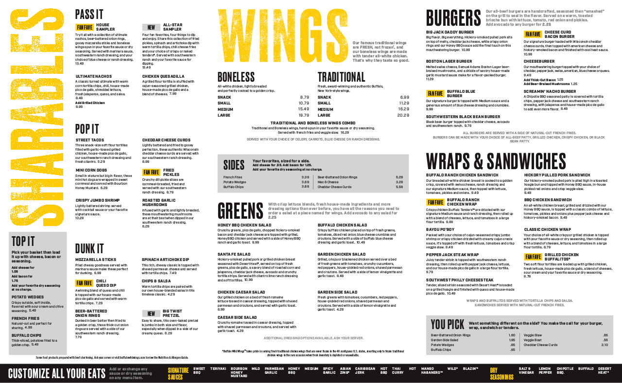 photo relating to Buffalo Wild Wings Printable Menu titled Buffalo Wild Wings Menu edocr