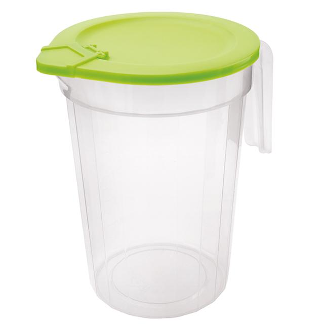 Jarros de vidrio 2 jarras tazas de vidrio de 0,5 litros refrigerador refrigerador jarras con tapa de pl/ástico blanco Versandfuxx24