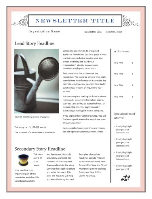 Newsletter Template forMicrosoft Publisher