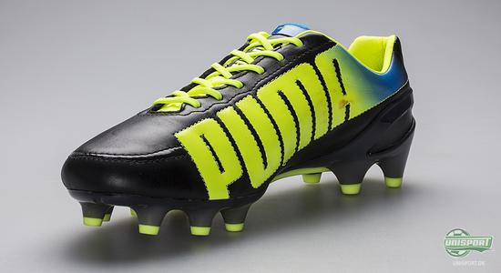puma, evospeed, 1.2, leather, skind, puma football, aguero, falcao, giroud, puma evospeed 1.2, black, flourescent yellow, unisport, unisportstore