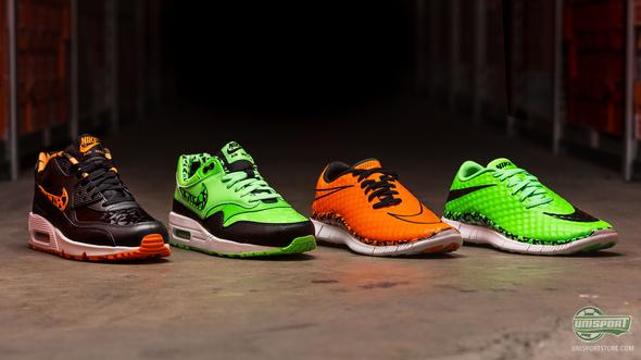 Nike sneakers: Free Hypervenom and Air Max for kids in Total Orange & Green Strike