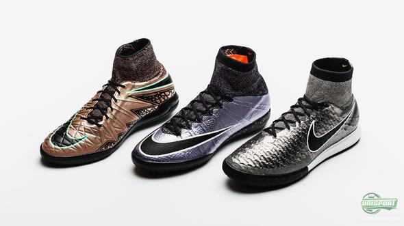 The Nike FootballX indoor and street shoes get the Liquid Chrome treatment
