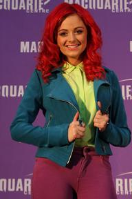 Sarah De Bono performs at Macquarie Shopping Centre, Sydney