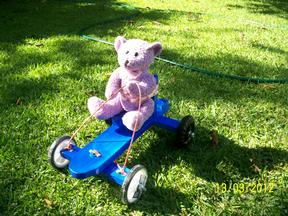 Teddys billy cart ride...
