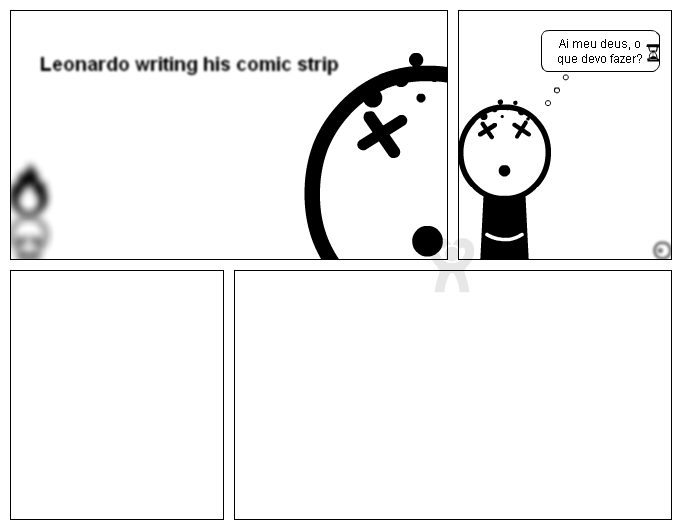 Leonardo writing his comic strip