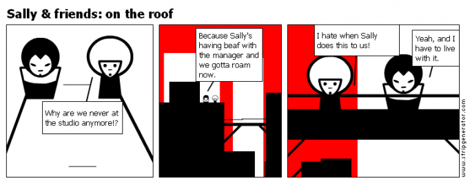 Sally & friends: on the roof