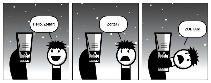 Zoltar eating!