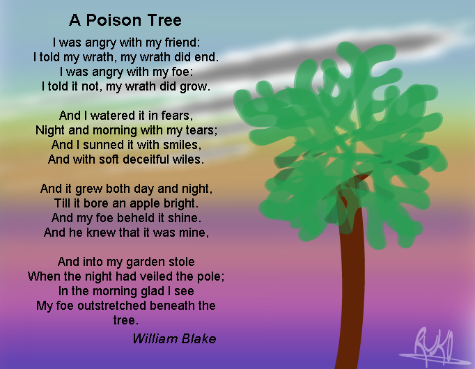 a poison tree about two people Conflict: an exemplar exam question ('a poison tree' / 'hate read the two poems below and then answer both part (a) a poison tree by william blake.