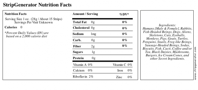 StripGenerator Nutrition Facts