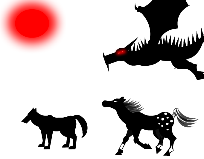 Dragon, Wolf, Horse, and Red Sun