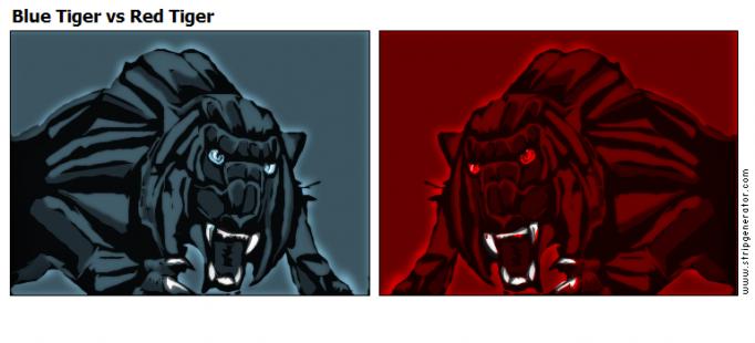 Blue Tiger vs Red Tiger