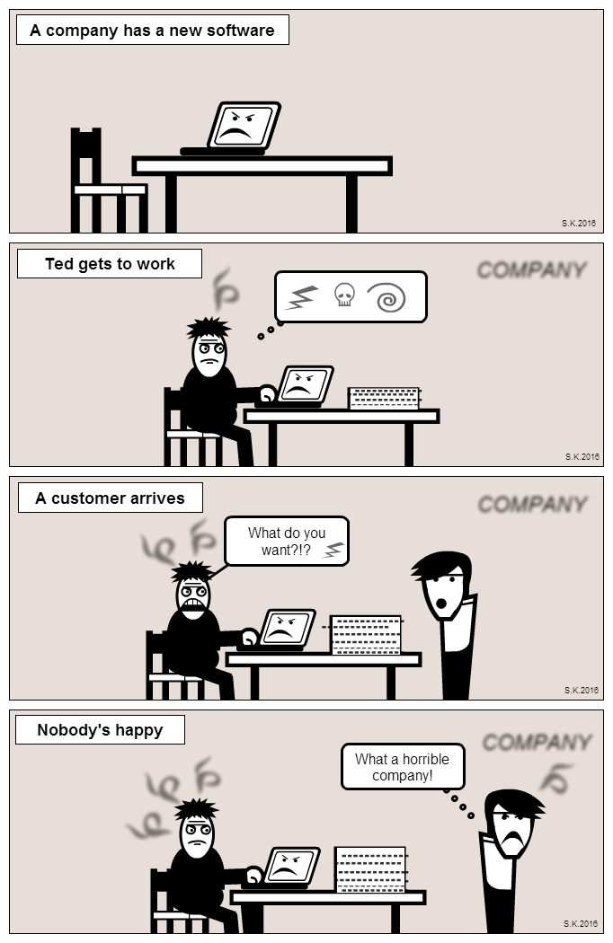 UX cartoon: Usability and wellbeing at work -part2