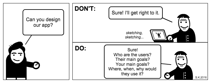 UX cartoon: Starting a design project