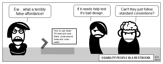 UX cartoon: Usability people in a restroom