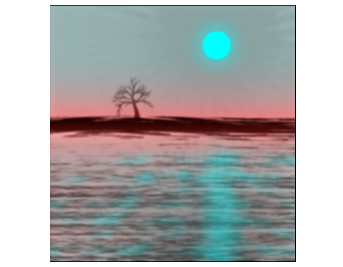 Landscape with blue sun