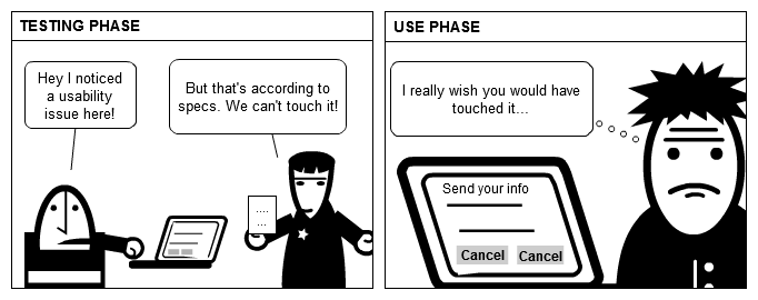 UX cartoon: Testing & usability defects
