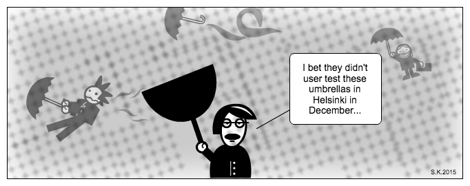 UX cartoon: Usability of umbrellas