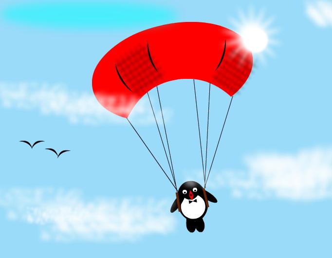 Penguin flying!