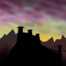 ocaso en las montañas