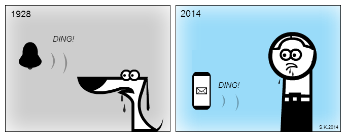 UX comic: Modern Pavlov's dog