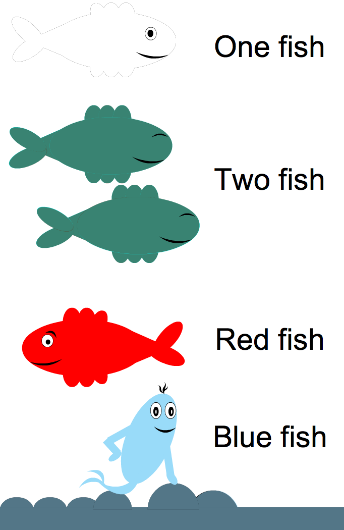 One fish two fish red fish blue fish book covers for One fish two fish red fish blue fish activities