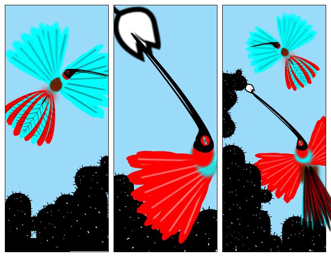 Bi kolibri eta lore bat.