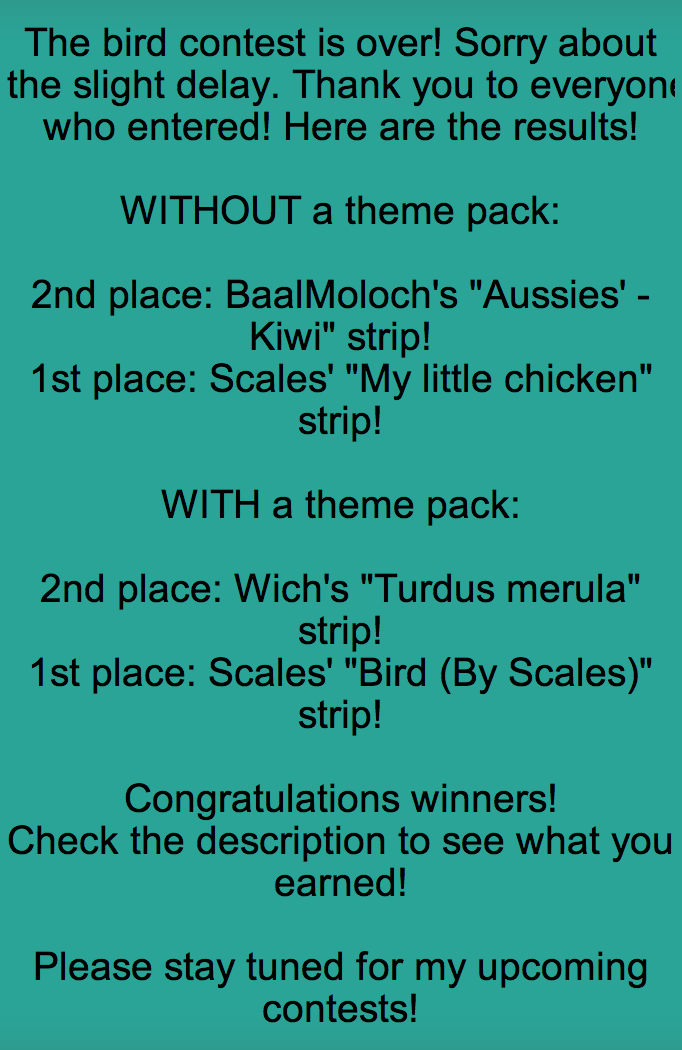 Bird contest results!