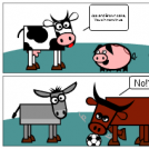 Footbal, With  Cow, Pig, Ass, Brown Cake