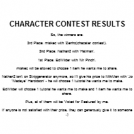 CHARACTER CONTEST RESULTS