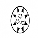 Black & white Easter egg, square egg, face egg
