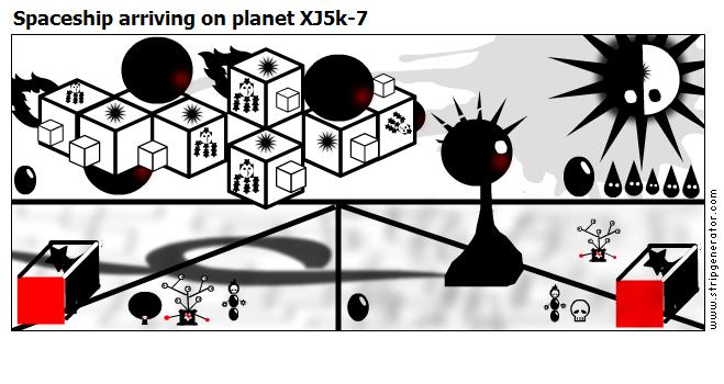 Spaceship arriving on planet XJ5k-7