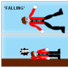 Falling.