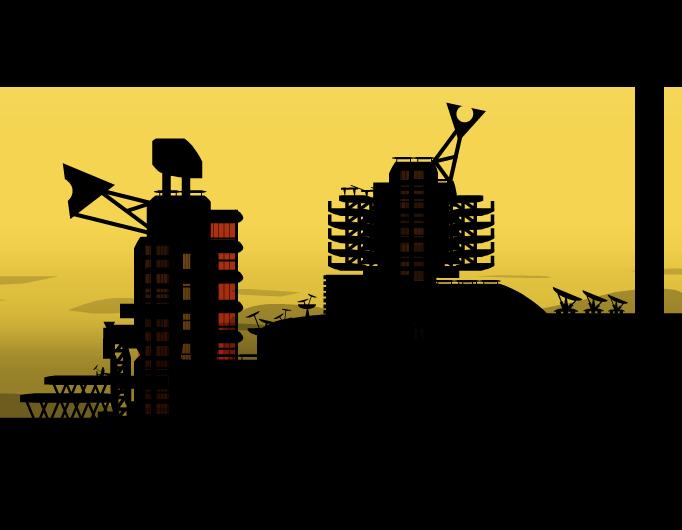 nosense city with yellow sky