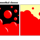 red bubbles VS. emmenthal cheese