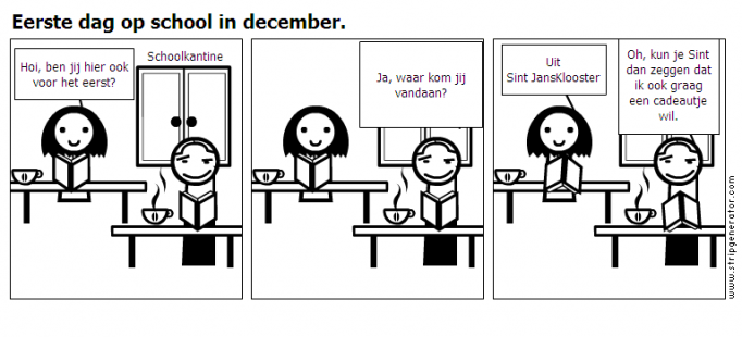 Eerste dag op school in december.