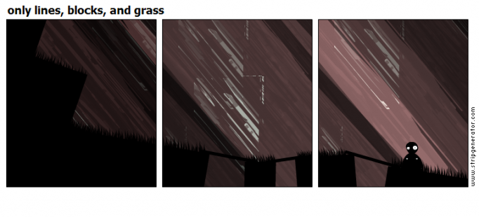only lines, blocks, and grass
