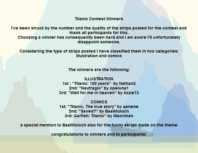 Titanic contest winners